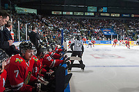 KELOWNA, CANADA - APRIL 25: The Portland Winterhawks play the # of the Kelowna Rockets on April 25, 2014 during Game 5 of the third round of WHL Playoffs at Prospera Place in Kelowna, British Columbia, Canada. The Portland Winterhawks won 7 - 3 and took the Western Conference Championship for the fourth year in a row earning them a place in the WHL final.  (Photo by Marissa Baecker/Getty Images)  *** Local Caption ***