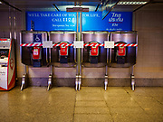 22 MARCH 2018 - BANGKOK, THAILAND: Decommissioned pay phones in a hallway in the Queen Sirikit Convention Center MRT Station. The MRT is Bangkok's subway system.      PHOTO BY JACK KURTZ