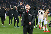 Manchester United interim Manager Ole Gunnar Solskjaer celebrates after the whistle in front of the fans and gestures during the Champions League Round of 16 2nd leg match between Paris Saint-Germain and Manchester United at Parc des Princes, Paris, France on 6 March 2019.