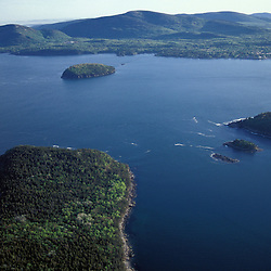 Acadia N.P., ME. Porcupine Islands. Frenchman Bay. Aerial.
