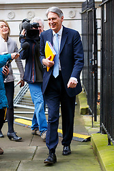 © Licensed to London News Pictures. 20/02/2016. London, UK. Foreign Secretary PHILIP HAMMOND attending a cabinet meeting in Downing Street on Saturday, 20 February 2016 after a deal made on the UK's EU membership in Brussels. Photo credit: Tolga Akmen/LNP