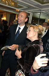 KAY SAATCHI and ERIC FELLNER at the Chain of Hope 10th Anniversary Ball held at The Dorchester, Park Lane, London on 1st November 2005.<br />