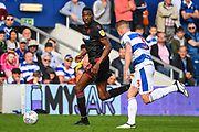 Bolton Wanderers forward Sammy Ameobi (10) Queens Park Rangers Defender Jake Bidwell (3) in action during the EFL Sky Bet Championship match between Queens Park Rangers and Bolton Wanderers at the Loftus Road Stadium, London, England on 30 March 2019.