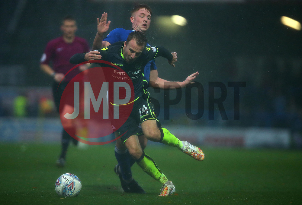 Chris Lines of Bristol Rovers is fouled by Callum Camps of Rochdale - Mandatory by-line: Robbie Stephenson/JMP - 21/10/2017 - FOOTBALL - Crown Oil Arena - Rochdale, England - Rochdale v Bristol Rovers - Sky Bet League One