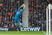 David De Gea (1) of Manchester United catches a deflected shot at goal by David Brooks (20) of AFC Bournemouth during the Premier League match between Bournemouth and Manchester United at the Vitality Stadium, Bournemouth, England on 3 November 2018.