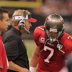 2008 September 7: Tampa Bay Buccaneers Head Coach Jon Gruden talks with his quarterback Jeff Garcia (7) on the sideline during their game against the New Orleans Saints at the Louisiana Superdome in New Orleans, LA.