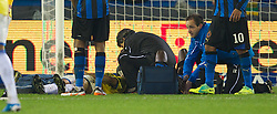 20.10.2011, Jan-Breydel Stadion, Bruegge, BEL, UEFA EL, Gruppe H, FC Bruegge (BEL) vs Birmingham City (ENG), im Bild  Birmingham City's Pablo Ibanez lies unconscious on the floor during the UEFA Europa League Group H match against Club Brugge at the Jan Breydelstadion.  // during UEFA Europa League group H match between FC Bruegge (BEL) vs Birmingham City (ENG), at Jan-Breydel Stadium, Brugge, Belgium on 20/10/2011. EXPA Pictures © 2011, PhotoCredit: EXPA/ Propaganda Photo/ David Rawcliff +++++ ATTENTION - OUT OF ENGLAND/GBR+++++