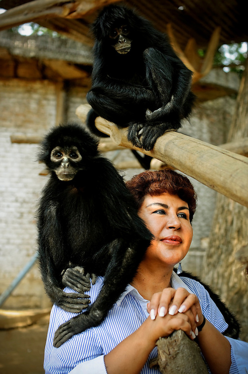 """Ana Julia Torres, 50, poses for a portrait with spider monkeys at the Villa Lorena Animal refuge she founded in Cali, Colombia. She is known for showing a lot of affection toward the injured, abandoned and/or abused animals that live at Villa Lorena, frequently petting, kissing and telling them how special they are, despite their age, deformities or injuries. """"When we give love, we get love"""" Torres said."""
