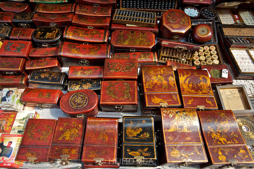 Panjiayuan weekend market. Laquerware.