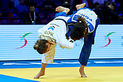 Warsaw, Poland - 2017 April 20: Majlinda Kelmendi from Kosovo (white) competes with Joana Ramos from Portugal (blue) in the women&rsquo;s 52kg semifinal during European Judo Championships 2017 at Torwar Hall on April 20, 2017 in Warsaw, Poland.<br /> <br /> Mandatory credit:<br /> Photo by &copy; Adam Nurkiewicz / Mediasport<br /> <br /> Adam Nurkiewicz declares that he has no rights to the image of people at the photographs of his authorship.<br /> <br /> Picture also available in RAW (NEF) or TIFF format on special request.<br /> <br /> Any editorial, commercial or promotional use requires written permission from the author of image.