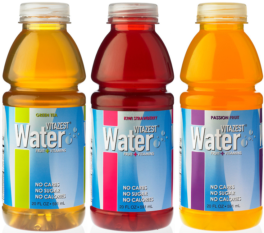 Product photograph of three bottles of vitamin enhanced water. I shot this still life image for Vita Zest.