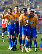 Goal - Tyler Walker (19) of Mansfield Town celebrates scoring a goal to make the score 1-3 during the EFL Sky Bet League 2 match between Exeter City and Mansfield Town at St James' Park, Exeter, England on 30 March 2019.
