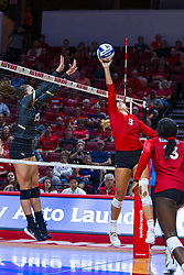 BLOOMINGTON, IL - September 14: Stef Jankiewicz tips the ball towards Kristina Fisher during a college Women's volleyball match between the ISU Redbirds and the University of Central Florida (UCF) Knights on September 14 2019 at Illinois State University in Normal, IL. (Photo by Alan Look)