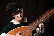 Archlutinist Peter Nightingale of Kingston, Rhode Island. The archlute was made by luthier Joel van Lennep. Nightingale sometimes performs as Marteyn van Ockeghem.