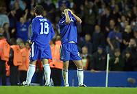 John Terry and Wayne Bridge (Chelsea) shows his despair at the end of the match. Chelsea v Monaco. Champions league semi final 2nd leg. 5/5/2004.<br /> Photo: Andrew Cowie, Digitalsport<br /> NORWAY ONLY