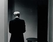 Rudolph Serkin, preparing  backstage before performance as guest pianist LA Philharmonic April 1973 Zubin Mehta conducting: Penderecki de Natura Sonoris ll*** <br /> Mozart: Piano Concerto in F, K.459<br /> Brahms: Piano Concerto No 1