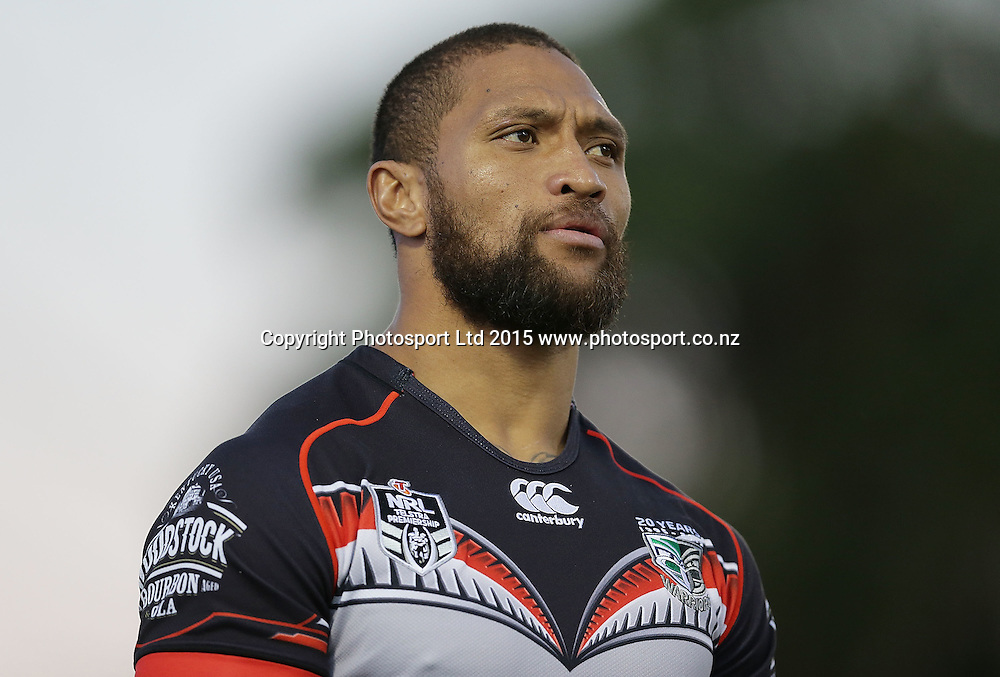 SYDNEY, AUSTRALIA - MAY 09:  Manu Vatuvei of the Warriors warms up before the NRL Rugby League match between the Cronulla Sharks and the Vodafone Warriors at Remondis Stadium, Sydney, Australia. Saturday 9 May 2015. Copyright Photo: Mark Metcalfe / www.Photosport.co.nz  *** Local Caption *** Manu Vatuvei