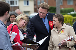 © Licensed to London News Pictures . 03/06/2014 . Newark , Nottinghamshire , UK . Labour candidate Michael Payne (centre) with Maria Eagle (right) campaigning in  Newark today (Tuesday 3rd June 2014) ahead of the by-election due to take place on Thursday (5th June 2014) . Photo credit : Joel Goodman/LNP