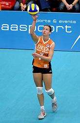 14-10-2006 VOLLEYBAL: DELA TROPHY: NEDERLAND - CUBA: DEN BOSCH<br /> De Nederlandse volleybalsters hebben ook de tweede wedstrijd in de testserie tegen Cuba, met als inzet de Dela Cup, gewonnen. In Den Bosch zegevierde Oranje zaterdagavond opnieuw met 3-2 / Elke Wijnhoven<br /> ©2006-WWW.FOTOHOOGENDOORN.NL