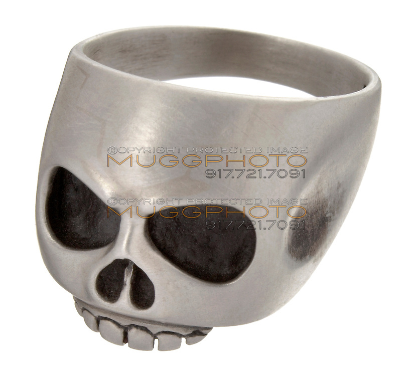 black and silver skull ring