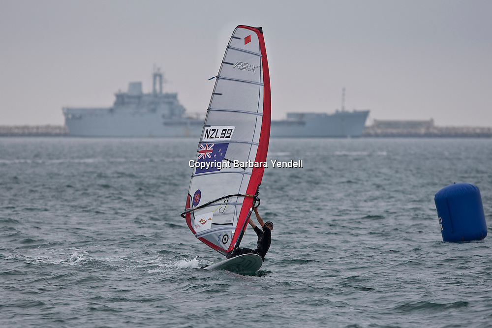 Justina Sellars (NZL) competes during Day 4 of the 2009 RS:X Windsurfing World Championships held in Weymouth, England, 8 September 2009. Photo: Barbara Yendell/PHOTOSPORT
