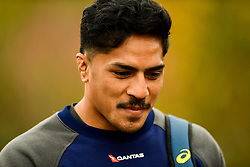 Pete Samu prior to the session starting  - Ryan Hiscott/JMP - 08/11/2018 - RUGBY - Llanwern High School - Newport, Wales - Australia Rugby Training Session