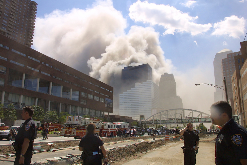 Debris fills the streets of lower Manhattan after the Twin Towers were brought down by a terrorist attack on the World Trade Center, New York City, September 11, 2001. Photo by Lisa Quinones