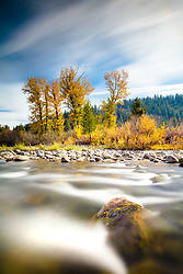 """""""Truckee River in Autumn 16"""" - A very long exposure photo of Cottonwood trees and fall colors along Truckee River in Truckee, California."""