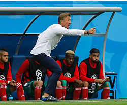 June 15, 2018 - Saint Petersburg, Russia - Morocco national team head coach Herve Renard (C) gestures during the 2018 FIFA World Cup Russia Group B match between Morocco and IR Iran on June 15, 2018 at Saint Petersburg Stadium in Saint Petersburg, Russia. (Credit Image: © Mike Kireev/NurPhoto via ZUMA Press)