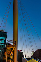 The Denver Millennium Bridge (the world's first cable-stayed bridge using post-tensioned structural construction) connects the 16th Street Mall with Commons Park, LoDo, Downtown Denver, Colorado USA.