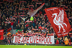 07.12.2013, Anfield Stadion, Liverpool, ENG, Premier League, FC Liverpool vs West Ham United, 15. Runde, im Bild Liverpool supporters' banner 'We Are Liverpool' // during the English Premier League 15th round match between Liverpool FC and West Ham United FC at Anfield Stadion in Liverpool, Great Britain on 2013/12/07. EXPA Pictures © 2013, PhotoCredit: EXPA/ Propagandaphoto/ David Rawcliffe<br /> <br /> *****ATTENTION - OUT of ENG, GBR*****