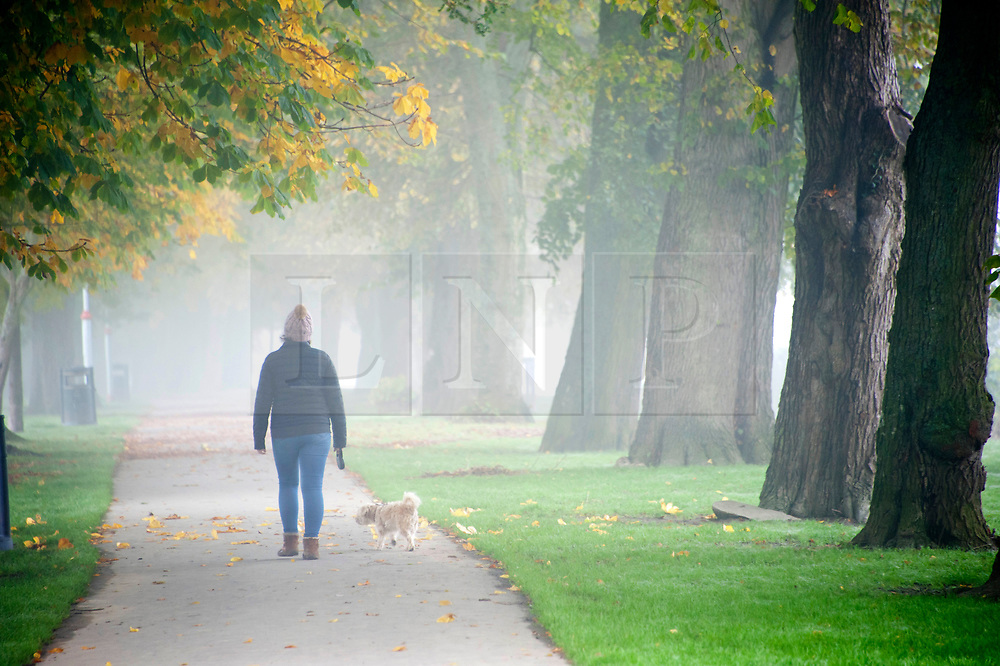 © Licensed to London News Pictures. 28/10/2019. Builth Wells, Powys, Wales, UK. A woman walks a dog in the Groe recreation park in Builth Wells in Powys. After recent days of relentless rain, and severe flooding from the river Wye, cold weather and fog hit Powys with temperatures dropping to below freezing last night in the small market town of Builth Wells. Photo credit: Graham M. Lawrence/LNP