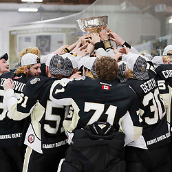 TRENTON, ON  - MAY 6,  2017: Canadian Junior Hockey League, Central Canadian Jr. &quot;A&quot; Championship. The Dudley Hewitt Cup Championship Game between The Trenton Golden Hawks and The Georgetown Raiders. Trenton Golden Hawks celebrate the Dudley Hewitt Cup Win. <br /> (Photo by Amy Deroche / OJHL Images)