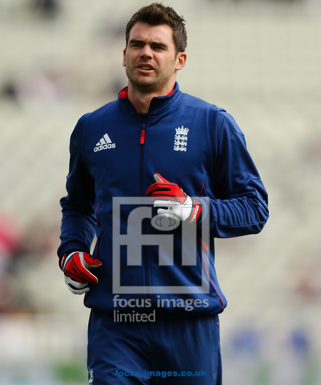 Picture by Tom Smith/Focus Images Ltd 07545141164<br /> 08/06/2013<br /> James Anderson of England warming up during the ICC Champions Trophy match at Edgbaston, Birmingham.