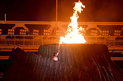 JAKARTA, Aug. 18, 2018  Torchbearer Susi Susanti of Indonesia lights up fire at the opening ceremony of the 18th Asian Games at Gelora Bung Karno (GBK) Main Stadium in Jakarta, Indonesia, Aug. 18, 2018. (Credit Image: © Yue Yuewei/Xinhua via ZUMA Wire)