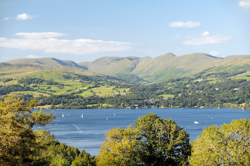 Lake District National Park, Cumbria, England. N.E over Windermere to the Wansfell and Ill Bell fells above Troutbeck