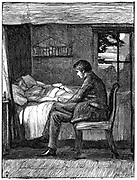 Will watching and listening at his friend's deathbed. Illustration by John Everett Millais (1829-1896) English artist and founder member of Pre-Raphaelite Brotherhood,  for Owen Meredith's poem 'Last Words' from 'The Cornhill Magazine', London, November 1860. Owen Meredith pseudonym of Edward Robert Bulwer Lytton (1831-1891) lst Earl Lytton. Engraving