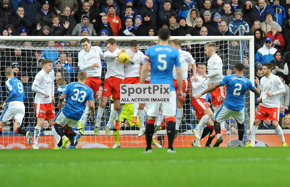 A shot by James Tavernier comes off the wall during the Ladbrokes Championship match between Rangers v Falkirk, Ibrox Stadium, Saturday 30 January 2016 (c) Angie Isac | SportPix.org.uk