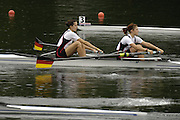 2006 FISA World Cup, Lucerne, SWITZERLAND, 07.07.2006. Women's Pair, GER W2- , bow Nicole ZIMMERMANN and Elke HIPLER.  Photo  Peter Spurrier/Intersport Images email images@intersport-images.com.[Friday Morning]...[Mandatory Credit Peter Spurrier/Intersport Images... Rowing Course, Lake Rottsee, Lucerne, SWITZERLAND.