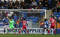Jordan Roberts of Gillingham watches the ball hit the crossbar - Mandatory by-line: Joe Dent/JMP - 11/01/2020 - FOOTBALL - Weston Homes Stadium - Peterborough, England - Peterborough United v Gillingham - Sky Bet League One