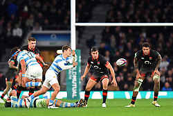 November 11, 2017 - London, United Kingdom - Argentina's Gonzalo Bertranou passes with England's Alex Lozowski and England's Courtney Lawes looking on during Old Mutual Wealth Series between England against Argentina at Twickenham stadium , London on 11 Nov 2017  (Credit Image: © Kieran Galvin/NurPhoto via ZUMA Press)