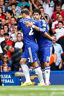 Diego Costa of Chelsea (right) celebrates scoring his team's first goal against Swansea City to make it 1-1 with Branislav Ivanovic of Chelsea