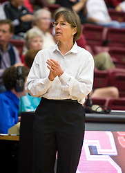 November 1, 2009; Stanford, CA, USA;  Stanford Cardinal head coach Tara VanDerveer during the first half against the Vanguard Lions at Maples Pavilion.