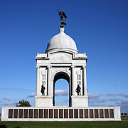 The Pennsylvania Memorial, Gettysburg. <br /> The names of the 33,500 Pensylvania members of the Union Army of The Potomac that participated at Gettysburg are listed on the bronzed tablets of the memorial. The Army of the Potomac number 93,000 troops in total.