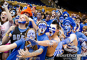 Duke fans all painted up for the game with UNC. Duke beats UNC 79-73 at Cameron Indoor Stadium Durham NC