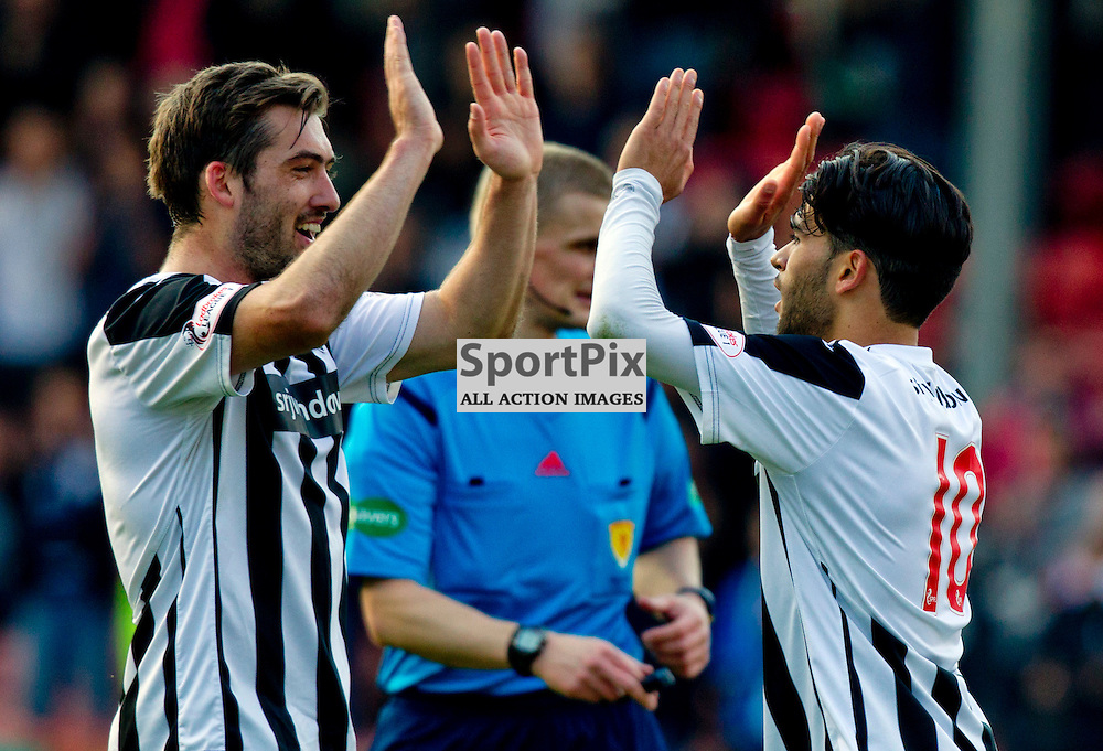 Dunfermline Athletic v Albion Rovers SPFL League One Season 2015/16 East End Park 03 October  2015<br /> Faissal El Bahktaoui (right) celebrates his goal with Michael Paton<br /> CRAIG BROWN | sportPix.org.uk