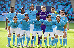 MANCHESTER, ENGLAND - Tuesday, September 15, 2015: Manchester City's players line up for a team group photograph before the UEFA Youth League Group D match against Juventus at the City of Manchester Stadium. Back row L-R: Rodney Kongolo, Thierry Ambrose, Tosin Adarabioyo, goalkeeper Daniel Grimshaw, Cameron Humphries, Pablo Maffeo. Front row L-R: Patrick Roberts, Demeaco Duhaney, Aaron Nemane, Manuel Garcia, Aleix Garcia. Pic by David Rawcliffe/Propaganda)