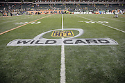 The NFL Wild Card logo is painted on the turf of Paul Brown Stadium in this general view, wide angle photograph of the stadium interior taken during pregame player introductions before the Cincinnati Bengals NFL AFC Wild Card playoff football game against the Pittsburgh Steelers on Saturday, Jan. 9, 2016 in Cincinnati. The Steelers won the game 18-16. (©Paul Anthony Spinelli)