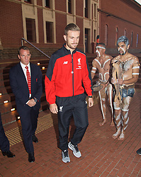 ADELAIDE, AUSTRALIA - Sunday, July 19, 2015: Liverpool's captain Jordan Henderson and manager Brendan Rodgers receive a 'Welcome to Country' from Aboriginal dancers during a visit to the Art Gallery of South Australia ahead of a preseason friendly match against Adelaide United on day seven of the club's preseason tour. (Pic by David Rawcliffe/Propaganda)