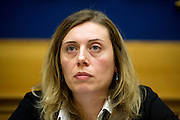 Rome jan 19th 2016, press conference to present the proposal to set up a commission of inquiry on the subject of ill-treatment and abuse of persons in conditions of deprivation or limitation of personal freedom. In the picture Celeste Costantino, politician